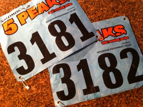 Race bibs from the Canmore 5 Peaks...